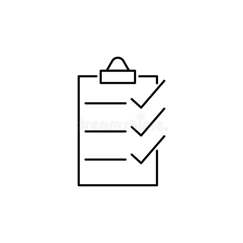 Linha do vetor da lista de verificação ilustração stock