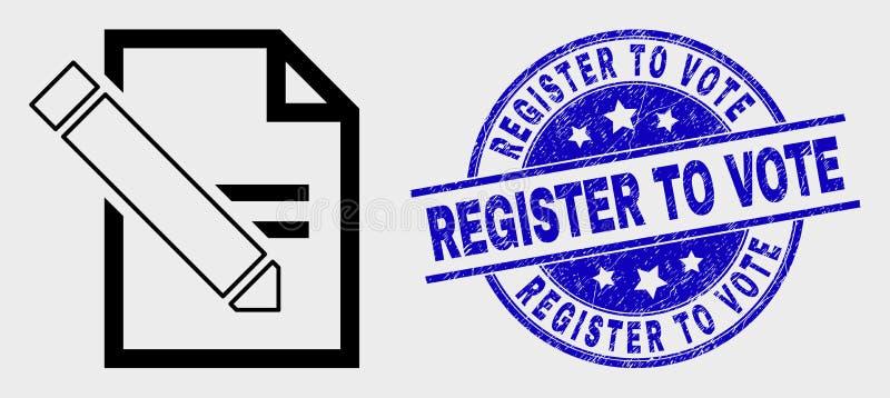 A linha do vetor edita o ícone da página do texto e o registro riscado para votar o selo do selo ilustração do vetor