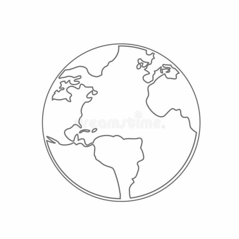 A linha do vetor do globo da terra do mapa do mundo esboçou acima do ilustrador ilustração royalty free