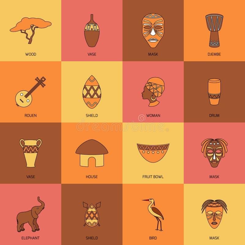 Linha dos ícones de África lisa ilustração do vetor