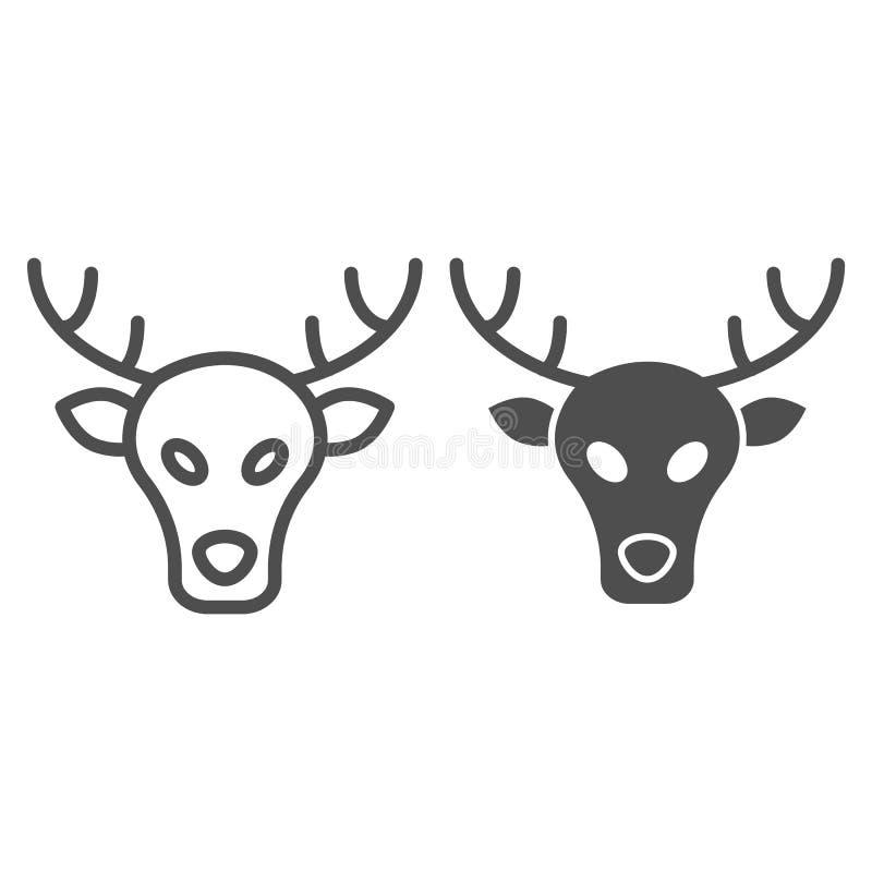 Linha dos alces e ícone do glyph Ilustração do vetor dos cervos isolada no branco Projeto animal do estilo do esboço, projetado p ilustração stock
