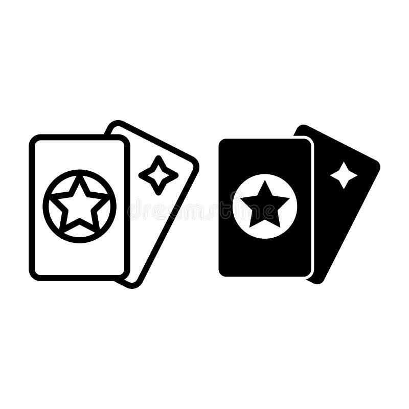 Linha dos cartões de tarô e ícone do glyph Ilustração mágica do vetor isolada no branco Projeto do estilo do esboço da astrologia ilustração royalty free
