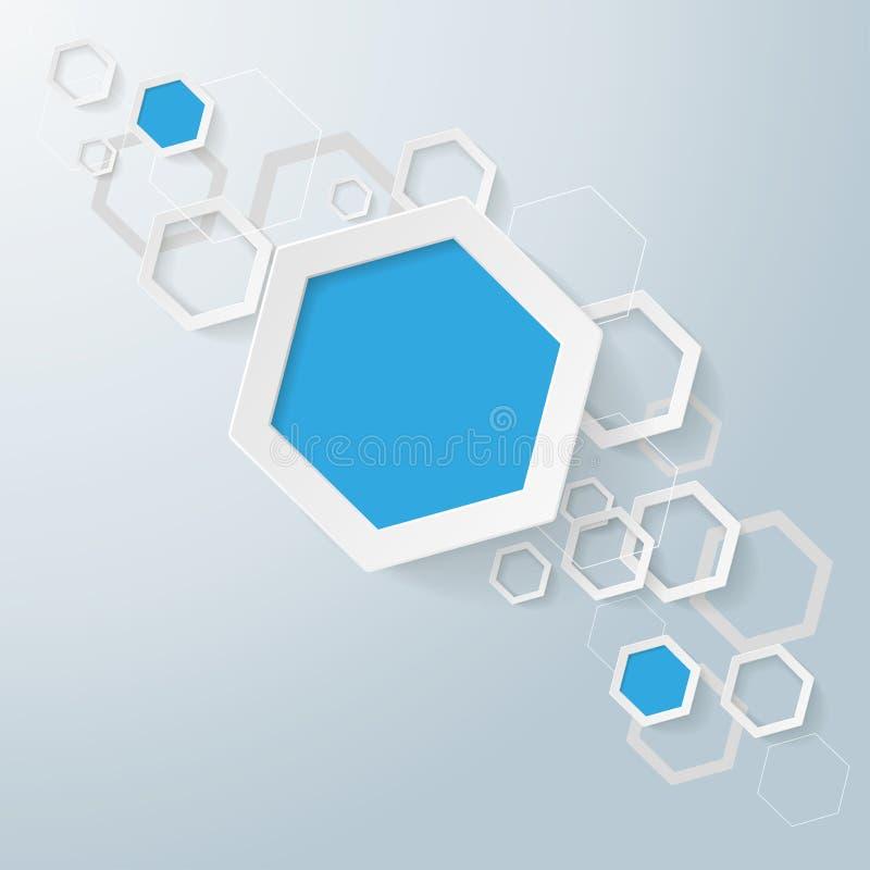 Linha dos hexágonos do papel branco e azul ilustração royalty free