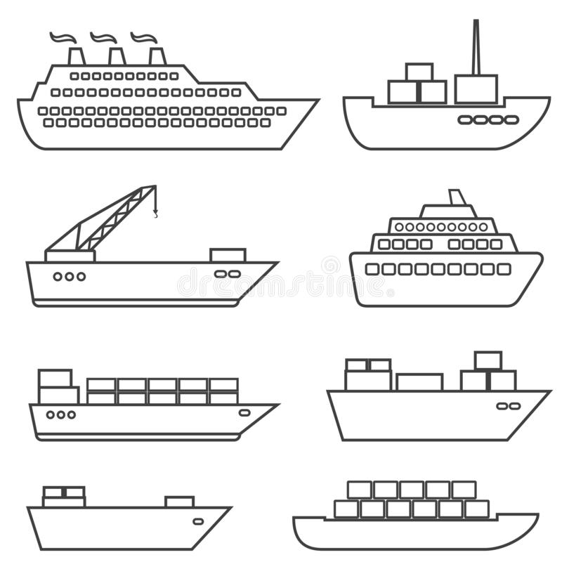Linha dos navios, dos barcos, da carga, da logística, do transporte e de transporte ilustração stock