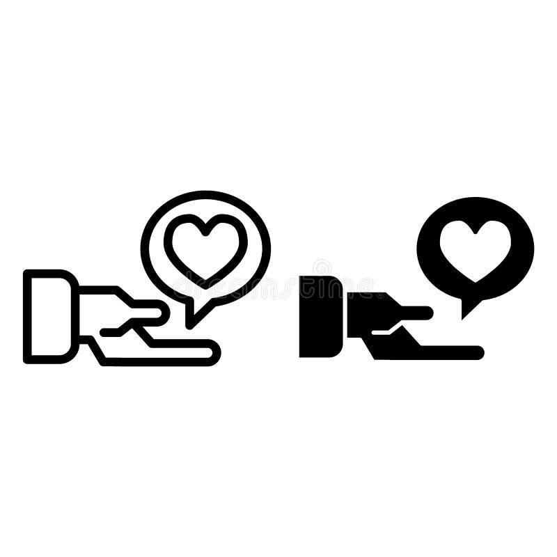 Linha dos sms da mão e do amor e ícone do glyph Mão que guarda a bolha do texto com a ilustração do vetor do coração isolada no b ilustração do vetor
