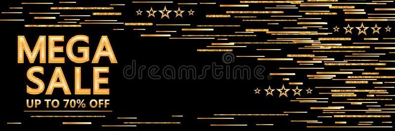 Linha dourada bandeira mega do brilho da venda da estrela ilustração do vetor