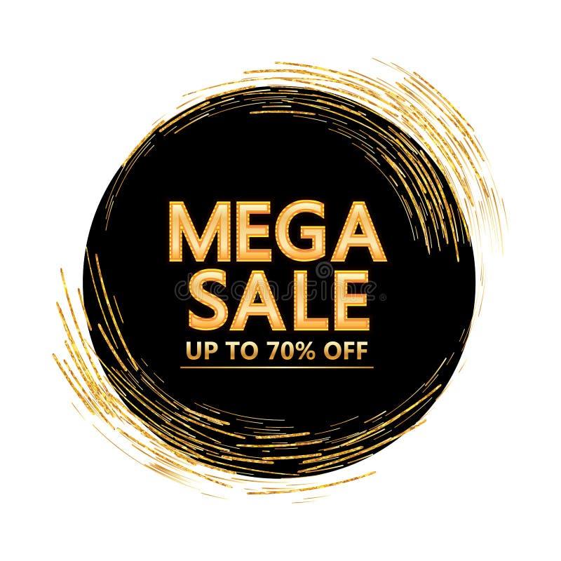 Linha dourada círculo do brilho em torno da tampa mega da venda ilustração royalty free