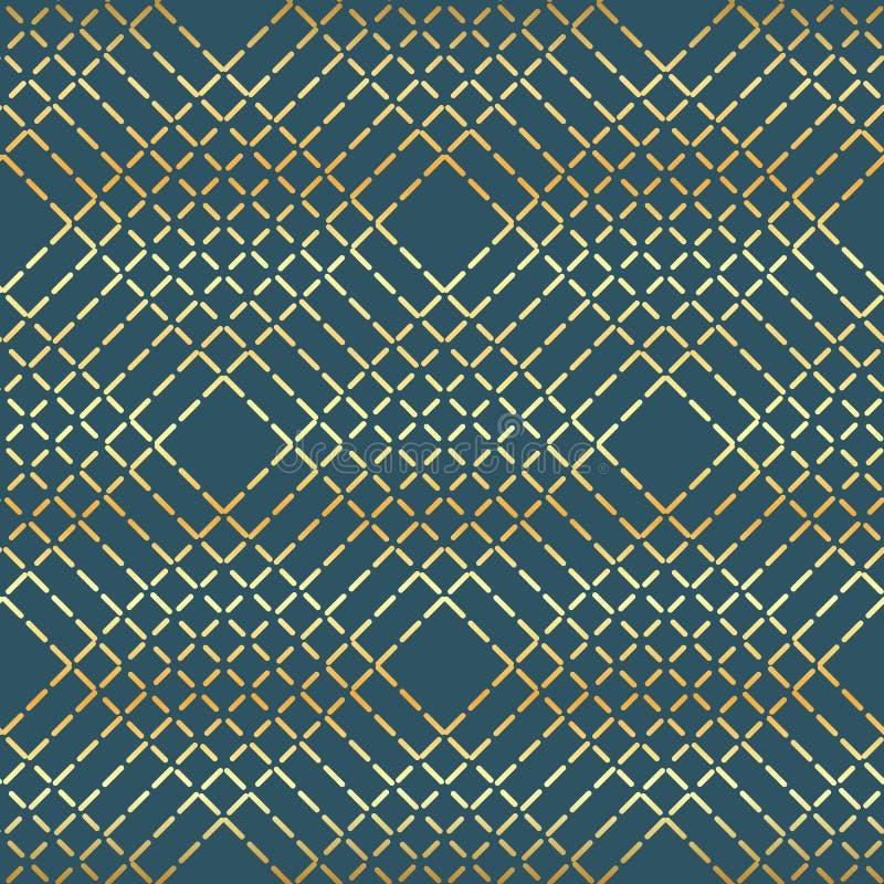 Linha dourada teste padrão do vetor geométrico Textura abstrata sem emenda para papéis de parede e fundo ilustração stock