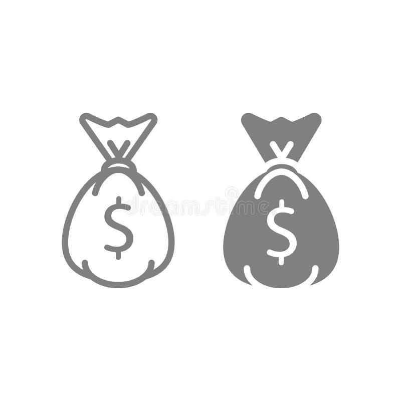 Linha e ícone principais do glyph Ilustração do vetor das economias de Cryptocurrency isolada no branco Estilo do esboço do saco  ilustração royalty free
