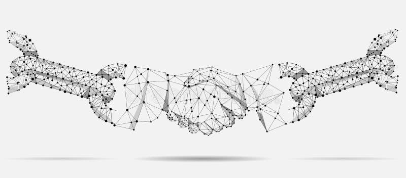 Linha e conceito abstratos do negócio do aperto de mão do acordo do ponto Linha poligonal projeto geométrico do ponto ilustração stock