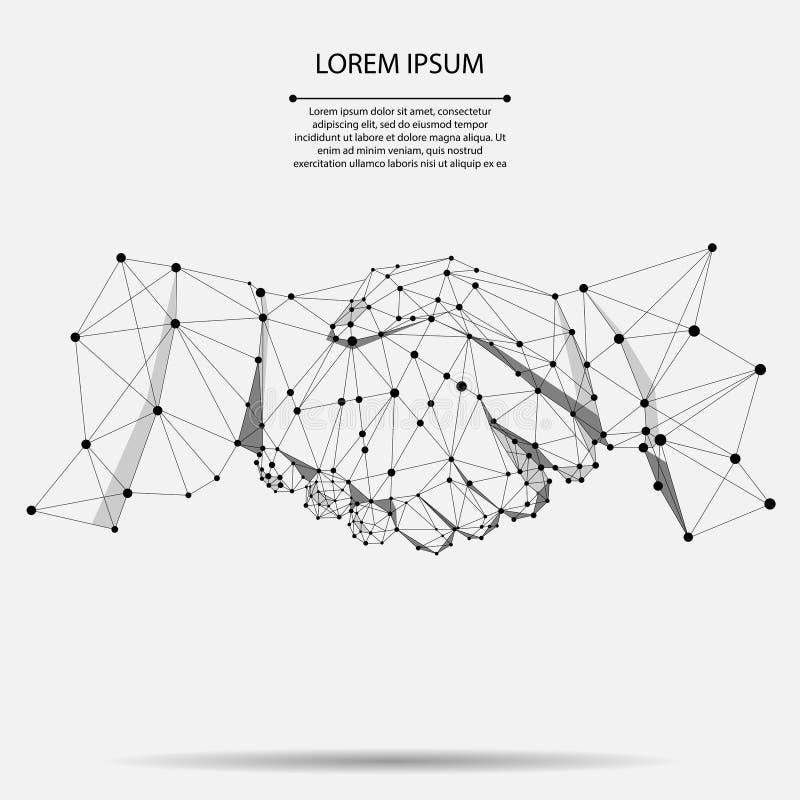 Linha e conceito abstratos do negócio do aperto de mão do acordo do ponto Linha poligonal projeto geométrico do ponto ilustração do vetor