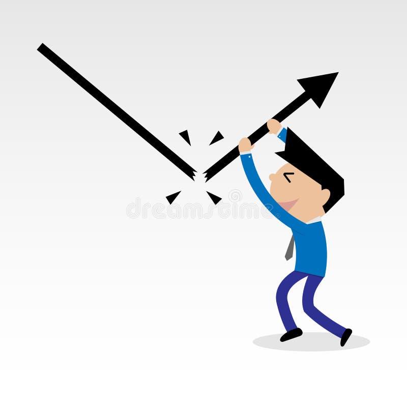 Linha e impulso de queda do gráfico da ruptura do homem de negócios à linha crescente ilustração royalty free