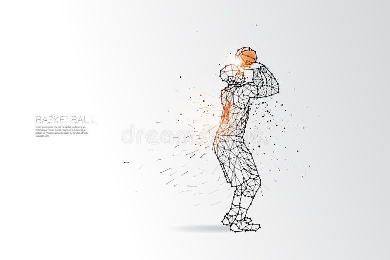 Linha e ponto do tiro do basquetebol ilustração royalty free