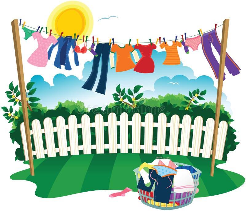 Linha e roupa de lavagem ilustração royalty free