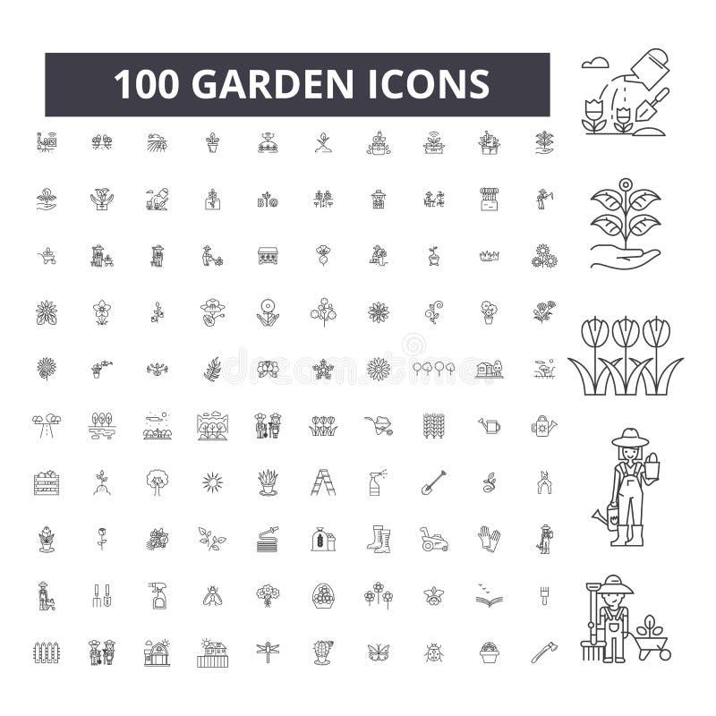 Linha editável ícones do jardim, grupo de 100 vetores, coleção Ilustrações do esboço do preto do jardim, sinais, símbolos ilustração royalty free