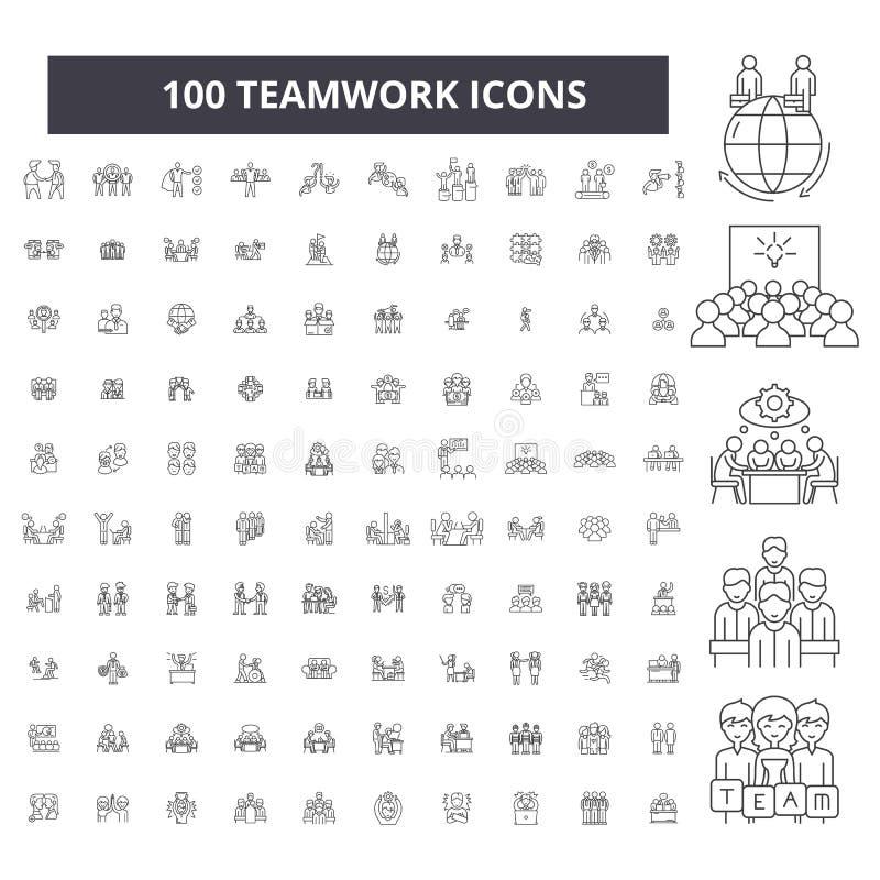 Linha editável ícones dos trabalhos de equipe, grupo de 100 vetores, coleção Ilustrações pretas do esboço dos trabalhos de equipe ilustração royalty free