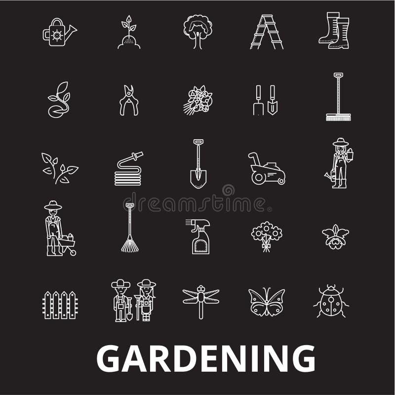 Linha editável de jardinagem grupo do vetor dos ícones no fundo preto Ilustrações brancas do esboço da jardinagem, sinais, símbol ilustração royalty free
