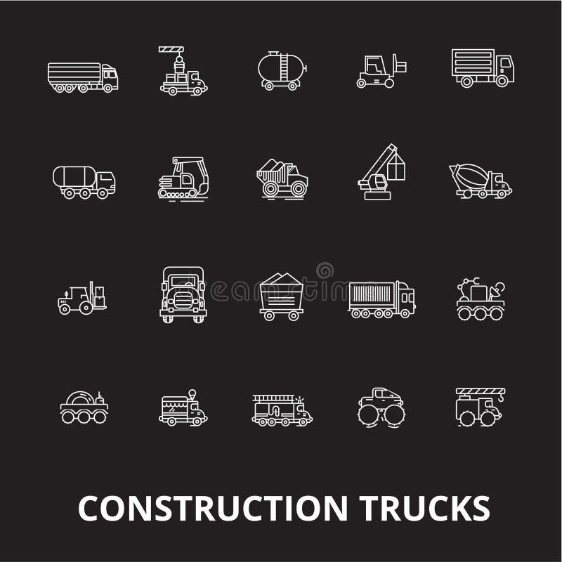 Linha editável grupo da construção dos caminhões do vetor dos ícones no fundo preto Ilustrações brancas do esboço da construção d ilustração do vetor
