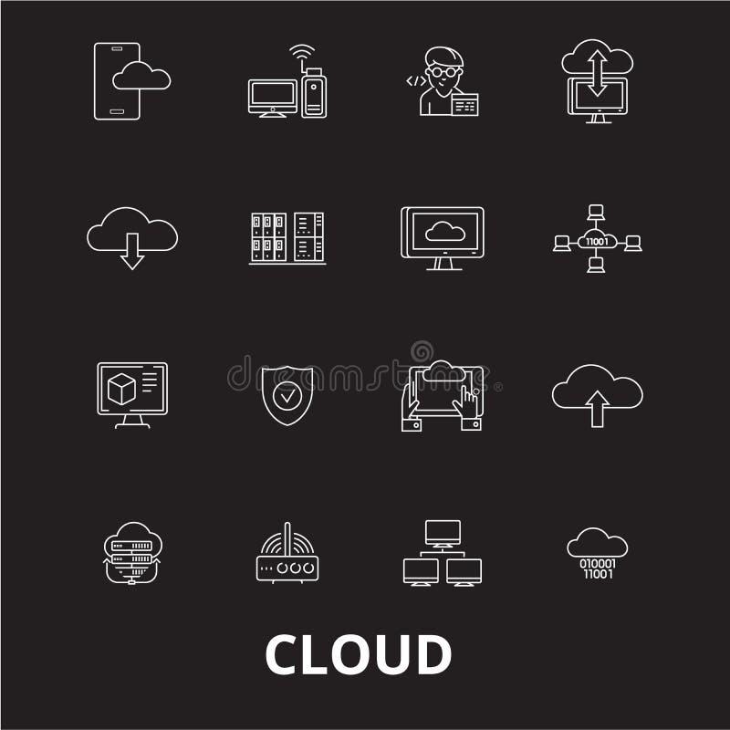 Linha editável grupo da nuvem do vetor dos ícones no fundo preto Ilustrações brancas do esboço da nuvem, sinais, símbolos ilustração stock