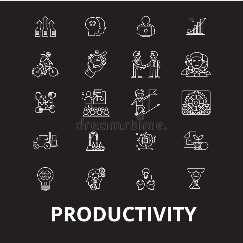 Linha editável grupo da produtividade do vetor dos ícones no fundo preto Ilustrações brancas do esboço da produtividade, sinais ilustração do vetor