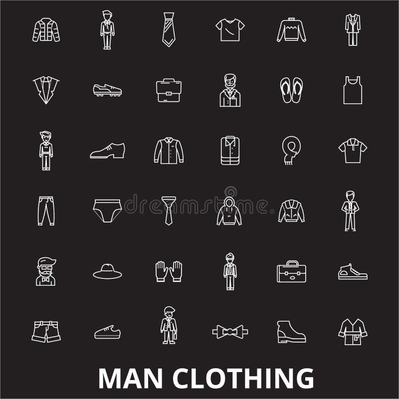 Linha editável grupo da roupa do homem do vetor dos ícones no fundo preto Ilustrações brancas do esboço da roupa do homem, sinais ilustração royalty free