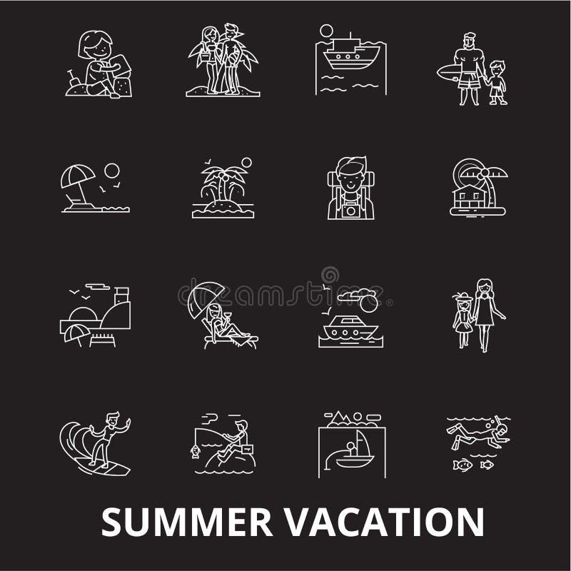 Linha editável grupo das férias de verão do vetor dos ícones no fundo preto Ilustrações brancas do esboço das férias de verão, si ilustração stock