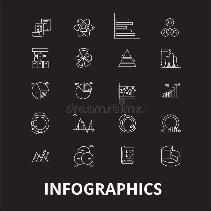 Linha editável grupo de Infographics do vetor dos ícones no fundo preto Ilustrações brancas do esboço de Infographics, sinais ilustração royalty free