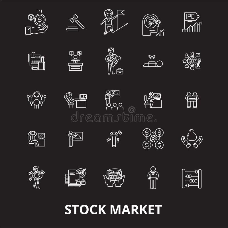 Linha editável grupo do mercado de valores de ação do vetor dos ícones no fundo preto Ilustrações brancas do esboço do mercado de ilustração do vetor