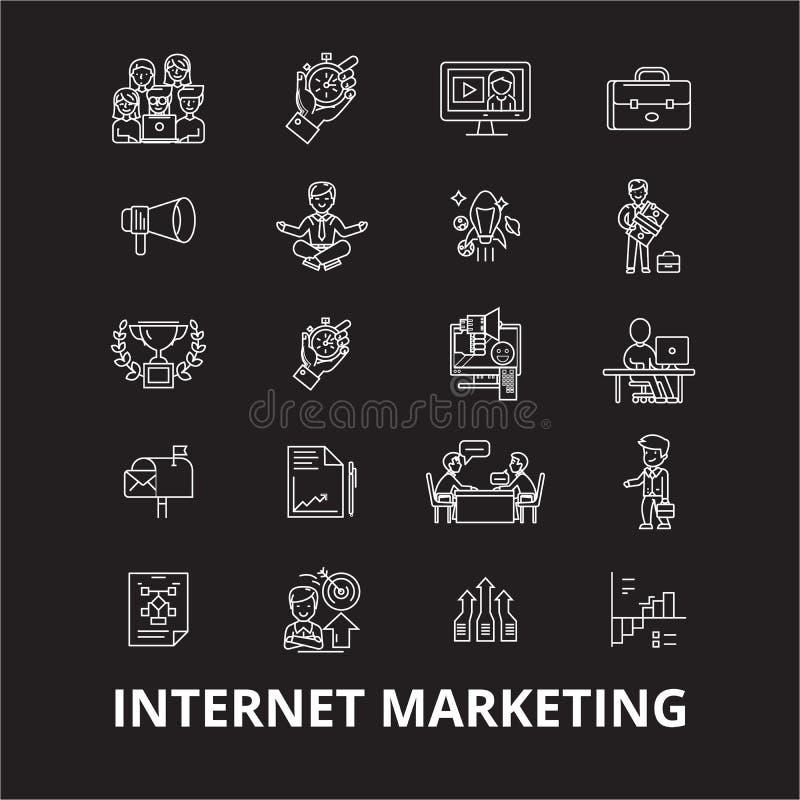 Linha editável grupo do mercado do Internet do vetor dos ícones no fundo preto Ilustrações brancas do esboço do mercado do Intern ilustração royalty free
