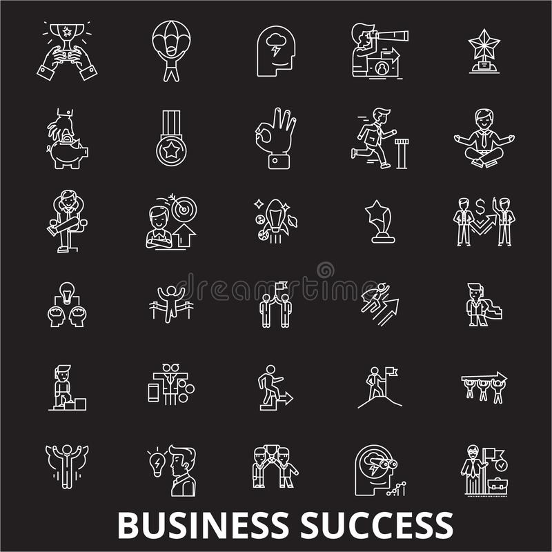 Linha editável grupo do sucesso comercial do vetor dos ícones no fundo preto Ilustrações brancas do esboço do sucesso comercial,  ilustração royalty free
