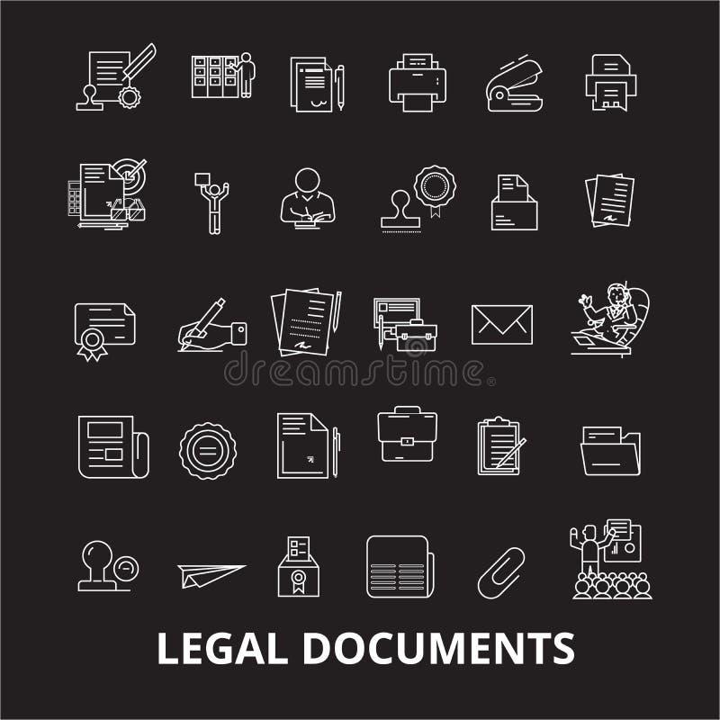 Linha editável grupo dos documentos jurídicos do vetor dos ícones no fundo preto Ilustrações brancas do esboço dos documentos jur ilustração stock