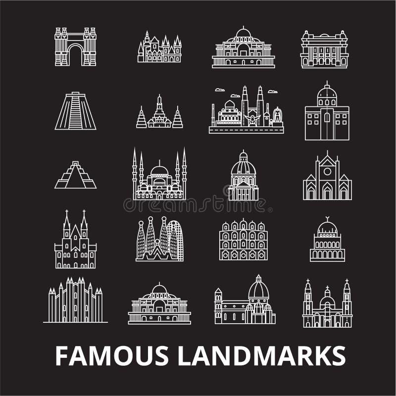 Linha editável grupo dos marcos famosos do vetor dos ícones no fundo preto Ilustrações brancas do esboço dos marcos famosos, sina ilustração stock