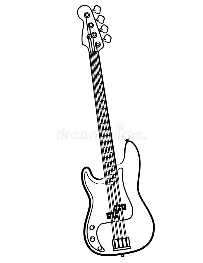 Linha elétrica ilustração da guitarra baixa da arte ilustração do vetor