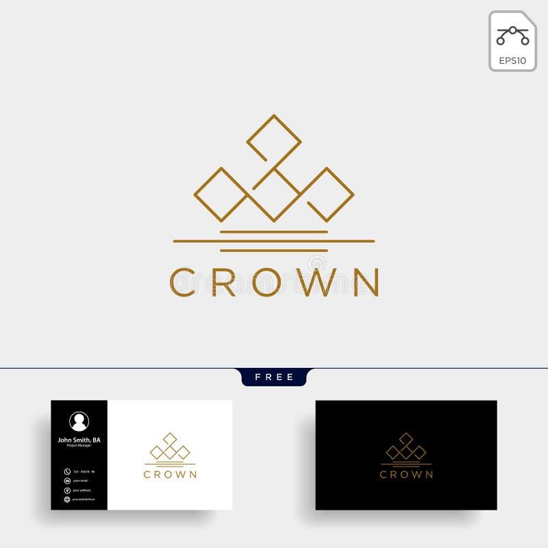 linha elegante elemento da coroa do ícone da ilustração do vetor do molde do logotipo ilustração stock