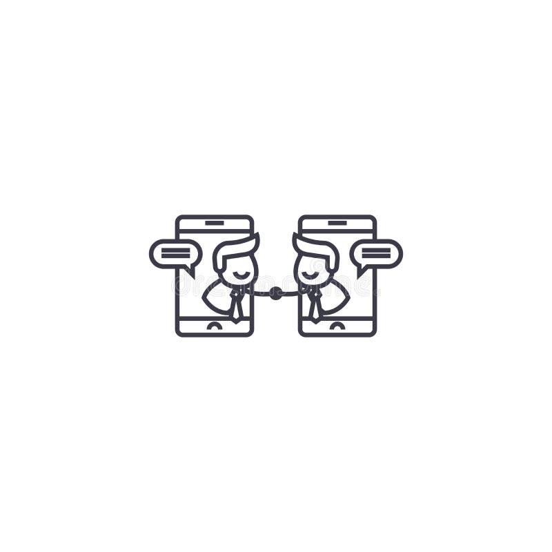 Linha em linha ícone do vetor da consolidação, sinal, ilustração no fundo, cursos editáveis ilustração stock