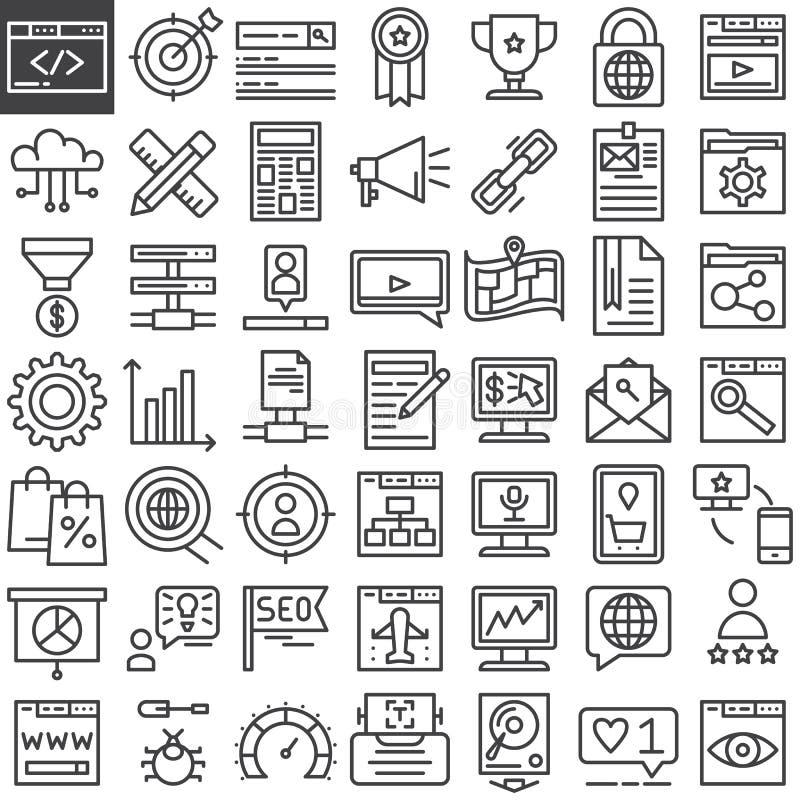 Linha em linha ícones do mercado de Seo ajustados ilustração stock