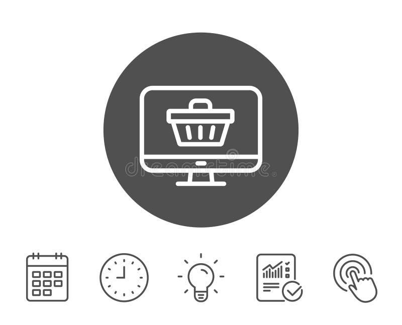 Linha em linha ícone do carrinho de compras Monitore o sinal ilustração stock