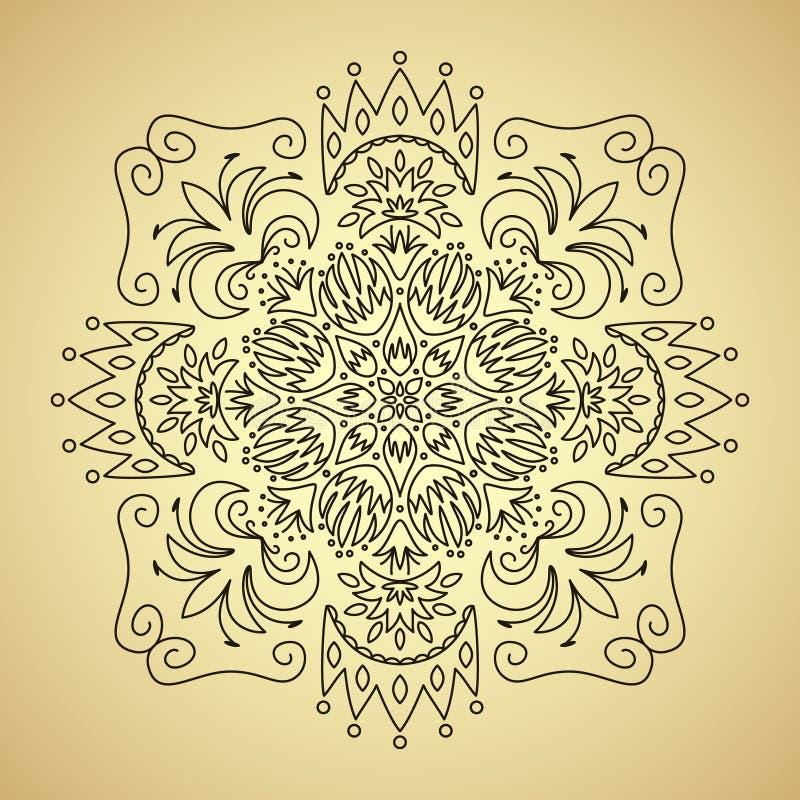 Linha emblema com flores e coroa ilustração royalty free