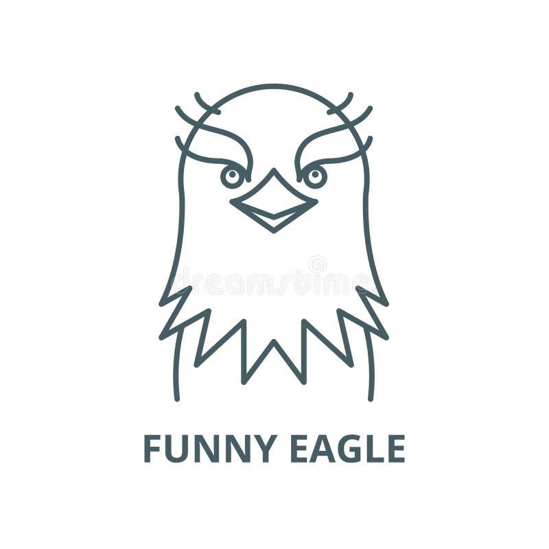Linha engraçada ícone do vetor da águia, conceito linear, sinal do esboço, símbolo ilustração do vetor
