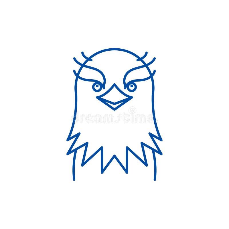 Linha engraçada conceito da águia do ícone Símbolo liso do vetor da águia engraçada, sinal, ilustração do esboço ilustração stock