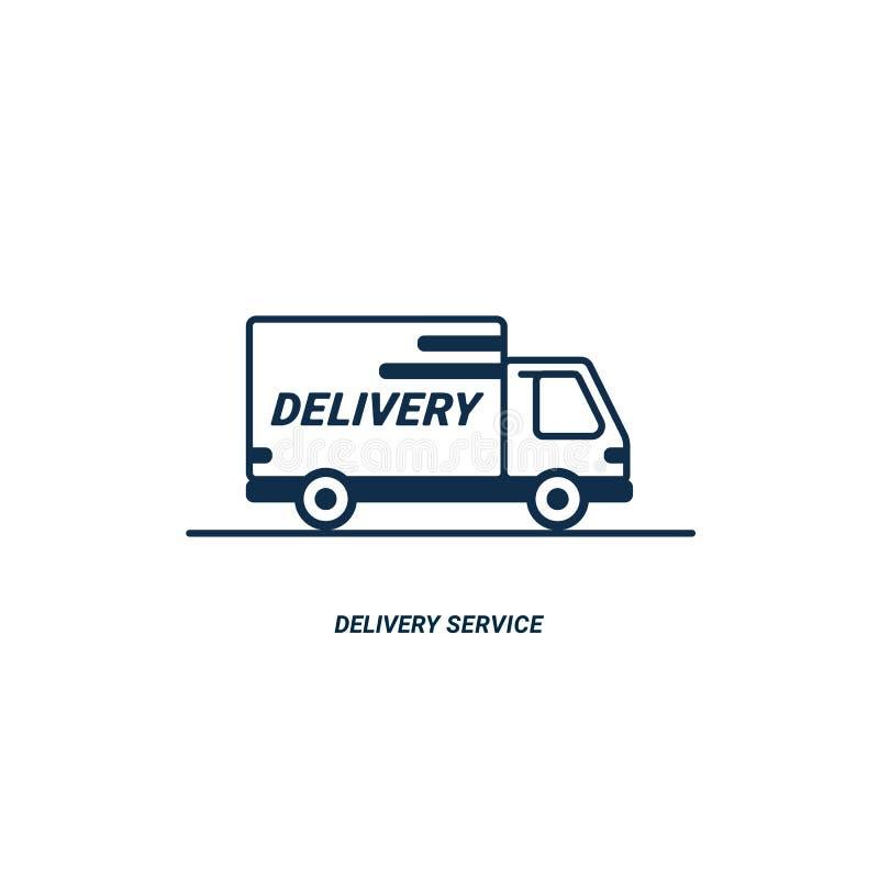 Linha entrega do ícone Ícone de Van esboço no fundo branco Serviço de entrega Entrega pelo carro ou pelo caminhão Pacotes express ilustração do vetor