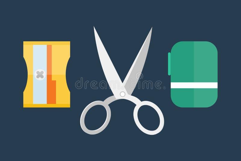 A linha equipamento aberto da forma do punho do equipamento dos artigos de papelaria do barbeiro do salão de beleza da separação  ilustração do vetor