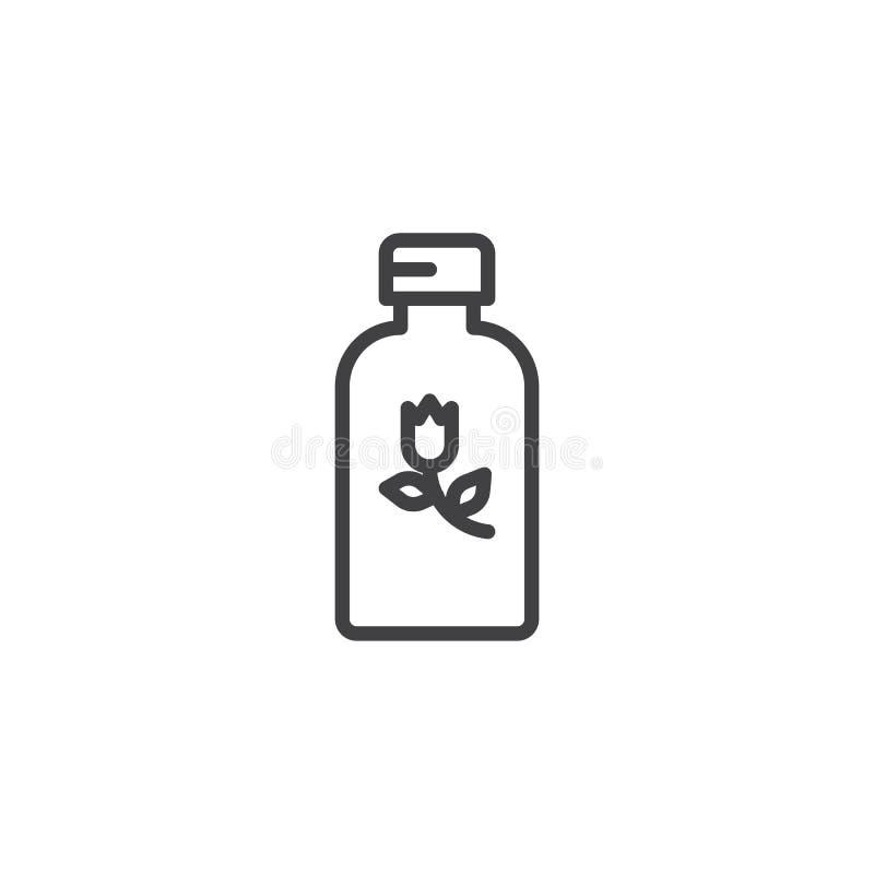 Linha erval ícone da garrafa dos cosméticos ilustração do vetor