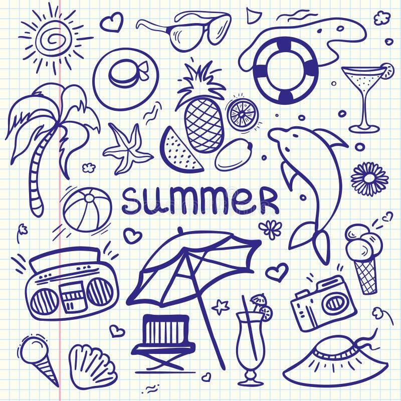 Linha esboçado grupo do vetor dos desenhos animados da garatuja da arte dos objetos e dos símbolos por férias de verão
