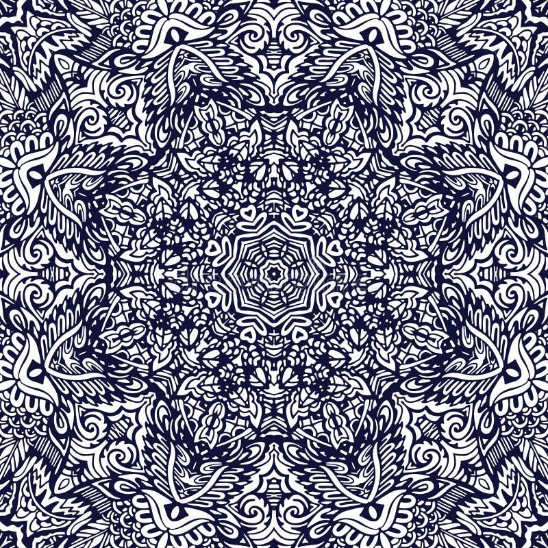 Linha esboçado tirada teste padrão sem emenda do contorno do vetor do sumário mão étnica decorativa da arte ilustração do vetor