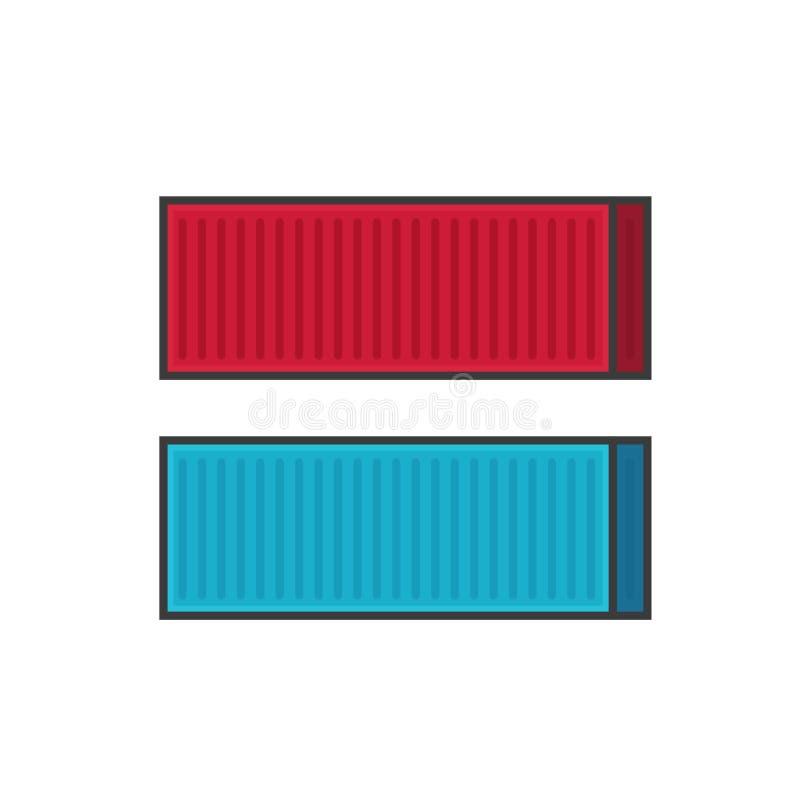 Linha esboço da ilustração do vetor do transporte do recipiente, recipientes de carga do metal na cor vermelha e azul isolados no ilustração royalty free