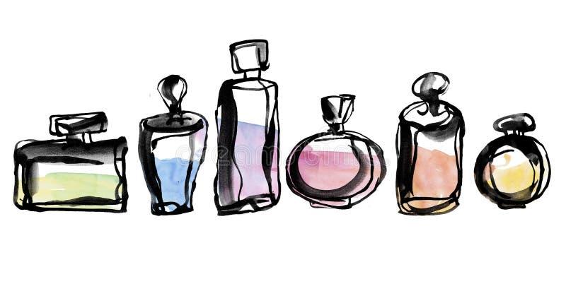 Linha esboço das garrafas de perfume ilustração do vetor
