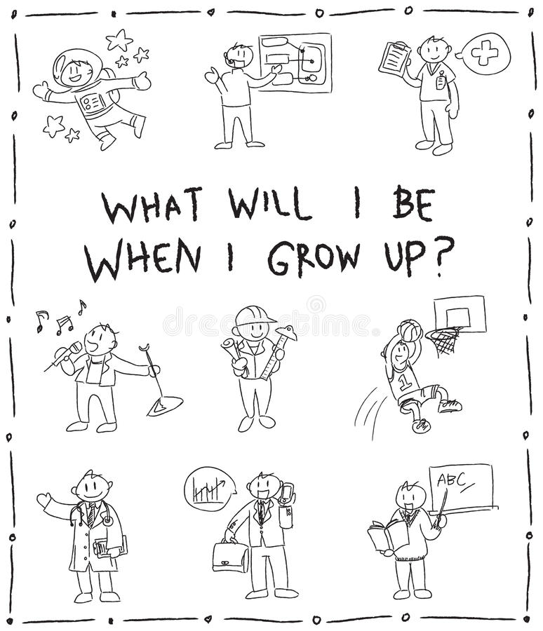 Linha esboço do lápis das crianças do jardim de infância do desenho da garatuja do carto ilustração royalty free