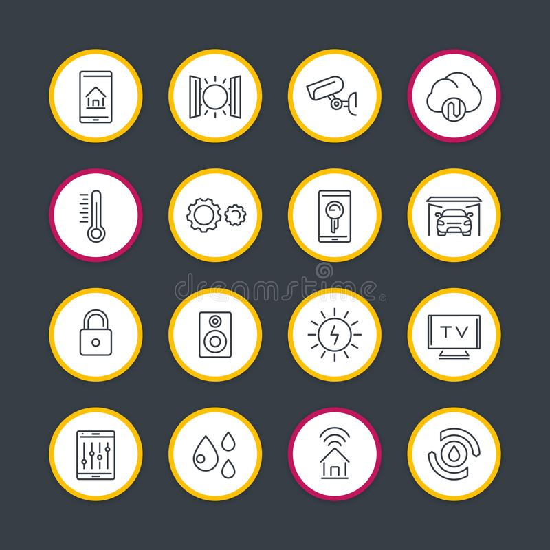 Linha esperta ícones do sistema da tecnologia da casa ajustados ilustração stock