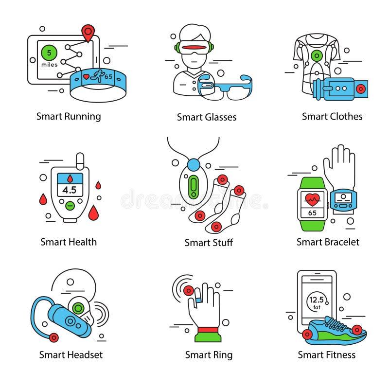 Linha esperta grupo da tecnologia do ícone ilustração stock